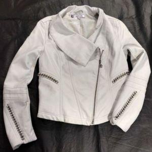 Jennifer Lopez Faux Leather Moto Jacket Womens XS